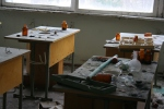 What's left of a chemistry class.
